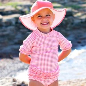 NWT: Ruffle Butts Candy & Pink Reversible Swim Hat